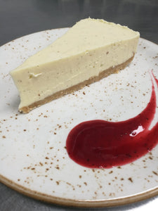 Sunday Lunch Dessert - Cheese cake with red fruit coulis