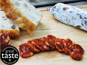 Manx Tamworth Chorizo Picante, the best of British Charcuterie, a Great Taste Award winner.