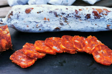 Manx Thermonuclear Chorizo, a fine example of British Charcuterie. Made with Ghost and Reaper chilli.