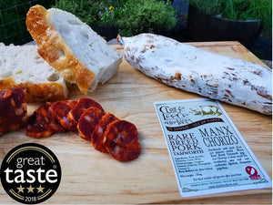 Manx Tamworth Chorizo, a fine example of British Charcuterie, a Great Taste 3 Star Award winner.
