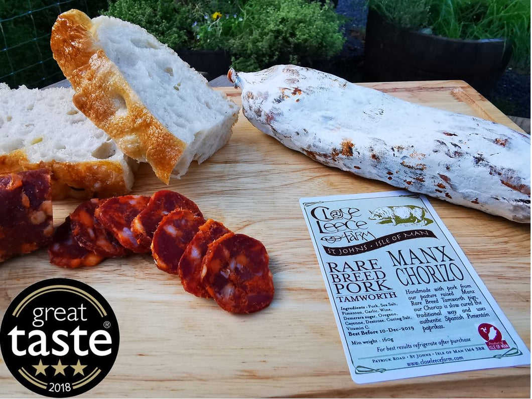 Manx Tamworth Chorizo, a fine example of British Charcuterie, a Great Taste Award winner.