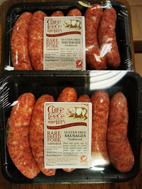 Gluten Free Traditional Premium Rare Breed Tamworth Pork Sausages - available in IOM ONLY