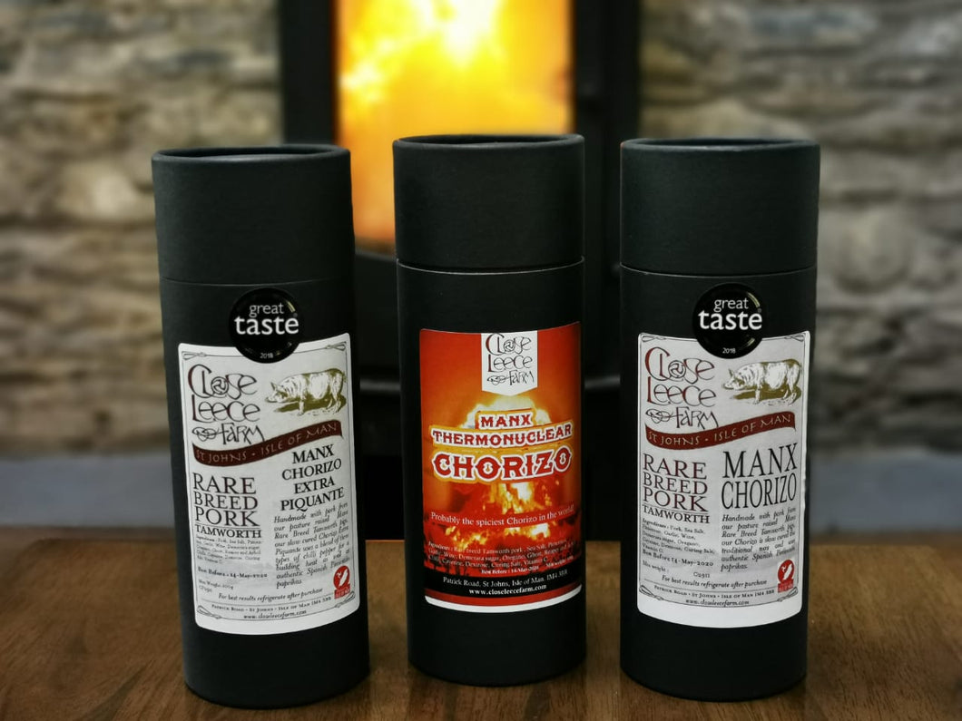 All three of our wonderful Tamworth chorizos.  Starting with our acclaimed Manx chorizo we move on to the fuller bodied Piquante and finish with the Thermonuclear, the pinnacle of spicey Chorizo (and to be treated with caution).