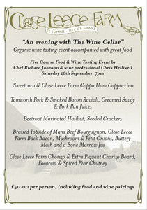 "Book a seat at ""An evening with the Wine Cellar"" food and wine tasting event - 26th Sep 7pm"