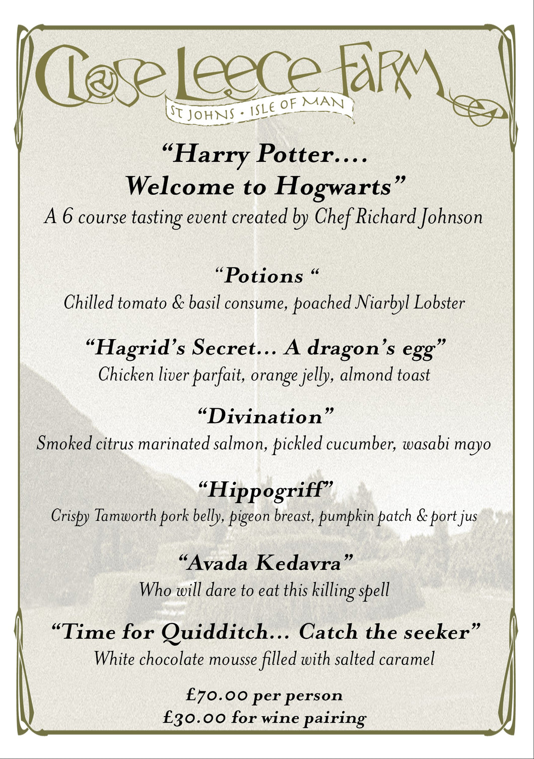 Book seats at our 6 course 'Harry Potter' tasting menu dinner