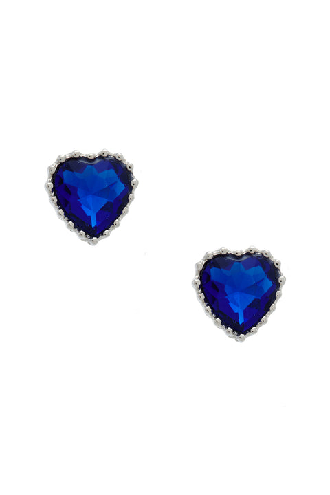 Faux Sapphire Gemstone Heart Earrings | OROSHE