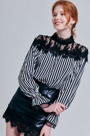 Alayna Lace Overlay Striped Blouse | OROSHE