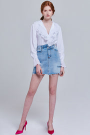 Bernadette Asymmetrical Denim Skirt | OROSHE