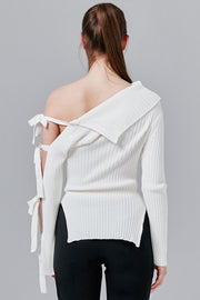 Camilla Ribbed Knit Top with Tie Sleeve | OROSHE