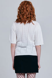 Casey Short Sleeve Cable Knit Sweater | OROSHE