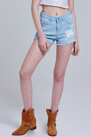 Faith Distressed Denim Shorts | OROSHE