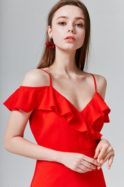 Evie Ruffle Open-Shoulder Dress | OROSHE