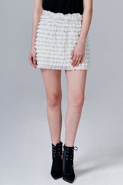 Florence Sheer Ruffle Mini Skirt | OROSHE
