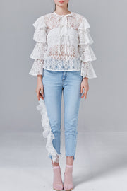 Amber Ruffle Sleeve Lace Top | OROSHE