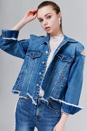 Bella Distressed Denim Jacket | OROSHE