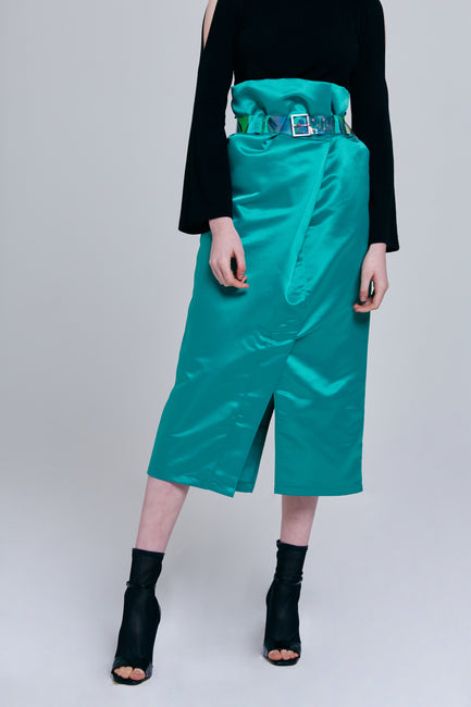 Bailey Silky Midi Skirt with Belt | OROSHE
