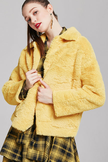 Nicole Cropped Faux Fur Jacket | OROSHE