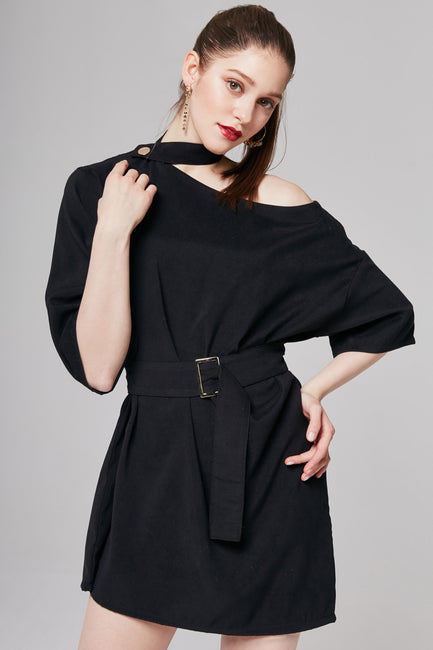 Kerry Choker Neck Belted Dress | OROSHE