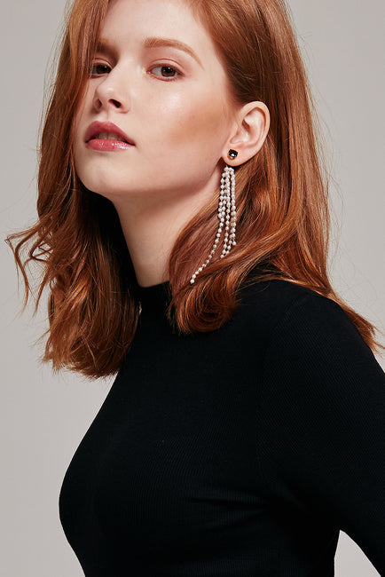 Unbalanced Pearl and Ribbon Earrings | OROSHE