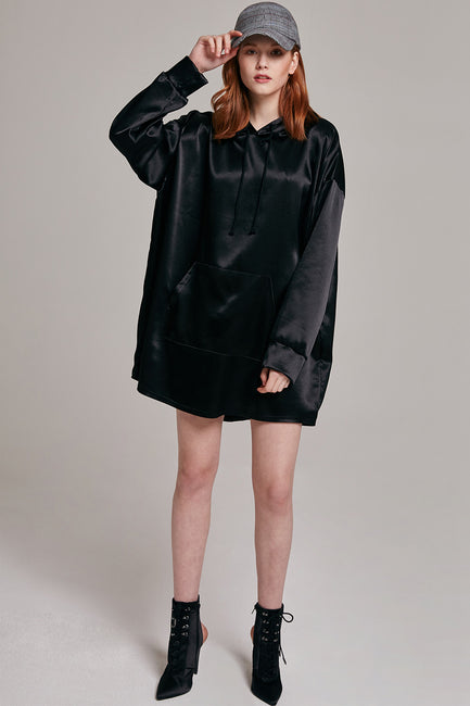 Heather Shimmery Pocket Hoodie Dress | OROSHE