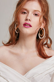 Pearl and Chain Hoop Earrings | OROSHE