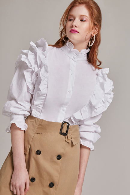 Ellie High Neck Ruffle Blouse | OROSHE