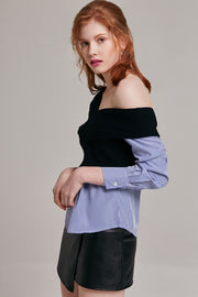 Olivia One Shoulder Striped Panel Top | OROSHE