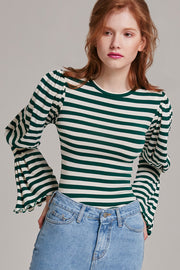 Emmy Striped Puff Sleeve Top | OROSHE