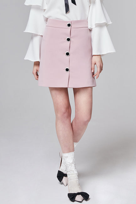 Lindsey Button Front Mini Skirt | OROSHE