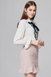 Vanessa Ruffle-trimmed Blouse with Ribbon | OROSHE