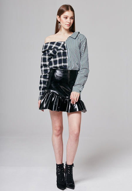 Amy Metallic Ruffled Mini Skirt
