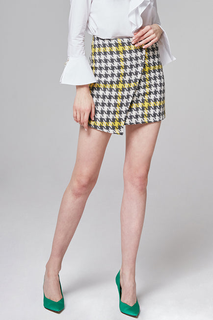 Keira Checked Wool-Blend Mini Skirt | OROSHE