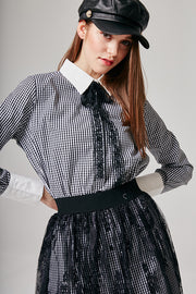 Sophia Gingham Shirt & Lace Skirt Set | OROSHE