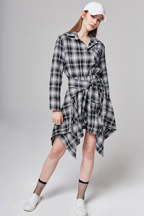 Laura Checked Tie-Waist Shirt Dress | OROSHE