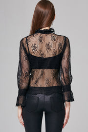 Mila High-Neck Floral-Lace Top | OROSHE
