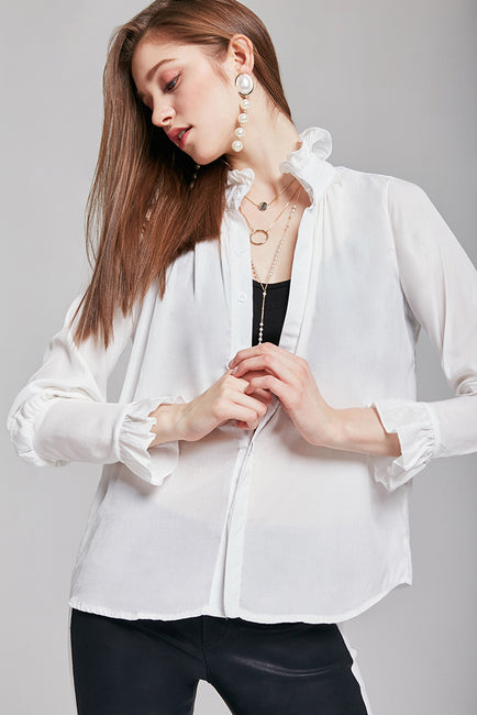 Melissa Ruffled-Neck Blouse | OROSHE