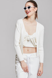 Karen Ribbed-Knit Top with Cardigan | OROSHE