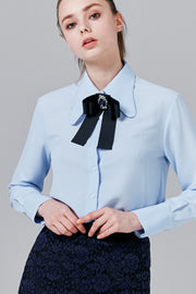 Liv Chiffon Blouse with Bow Brooch