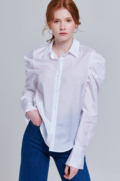 Mckenna Button-Up Puff Sleeve Blouse | OROSHE