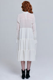 Millie Sheer Ruffle Dress with Belt | OROSHE