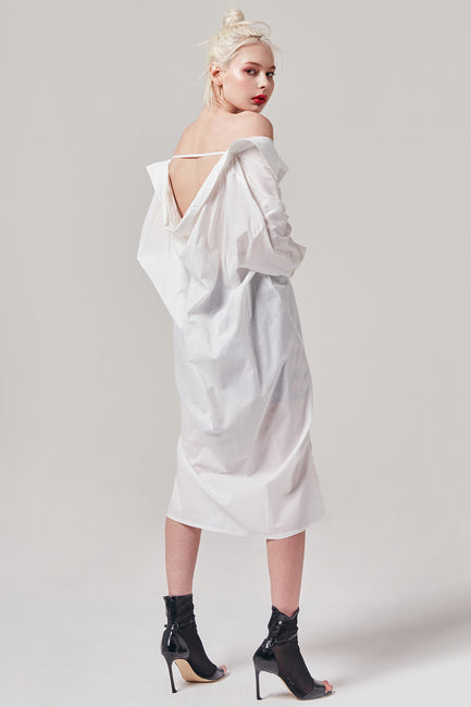 Open Back Button Up Shirt Dress | OROSHE
