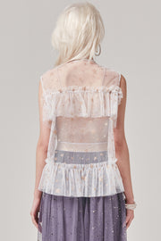 Portia Sheer Star Sleeveless Top | OROSHE