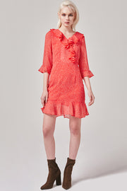 Red Polka Dot Ruffle Dress | OROSHE