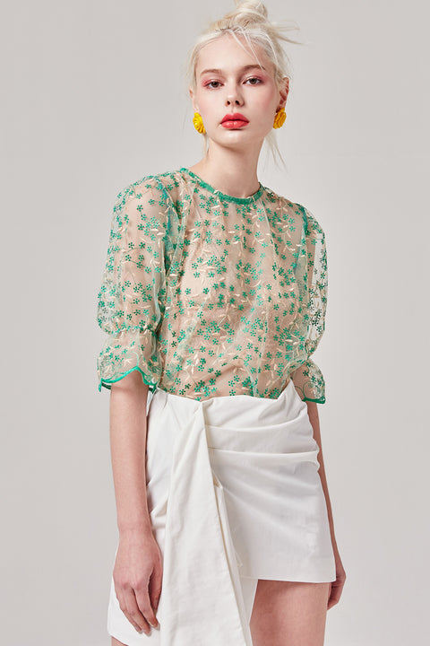 Sheer Embroidered Floral Top | OROSHE