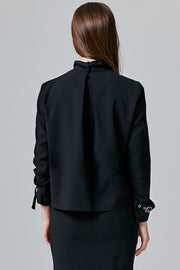 Sienna Buckled Funnel Neck Blouse | OROSHE