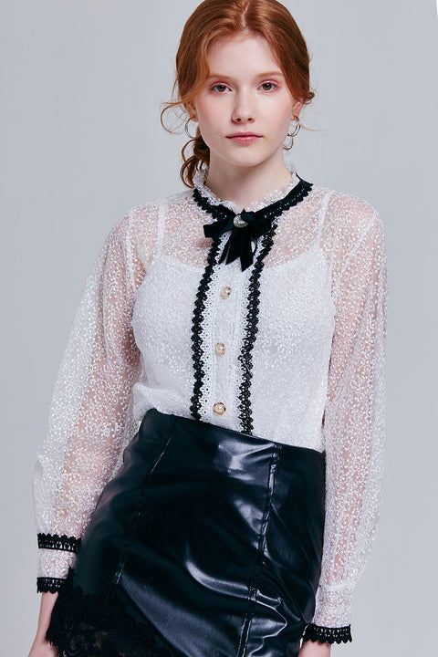 Sloane Sheer Lace Blouse | OROSHE