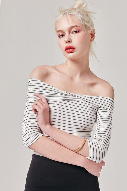 Striped Bardot Top | OROSHE
