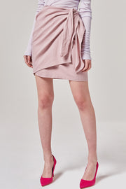 Tie Front Wrap Mini Skirt