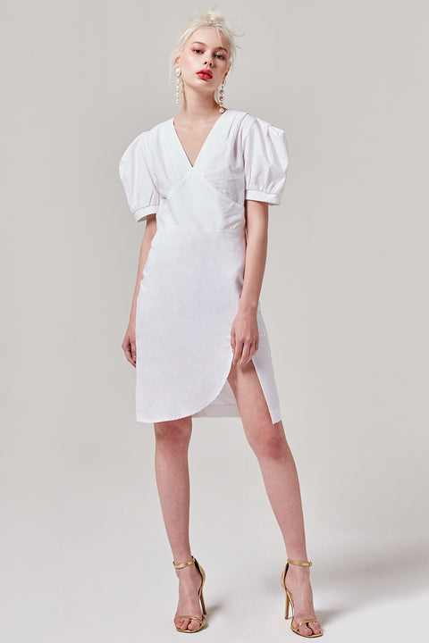 White Side Slit Dress | OROSHE