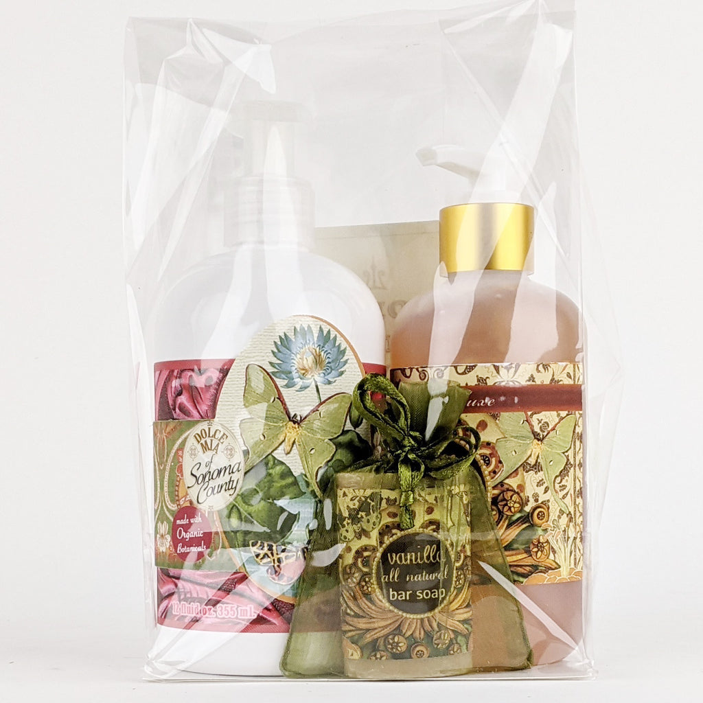 Dolce Mia Lotion & Hand Sanitizer Gift Set | Vanilla | Vintage Butterfly